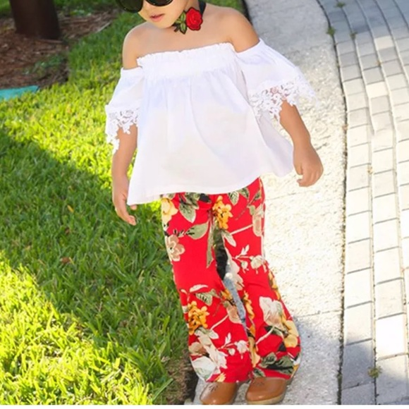 dda67295b Matching Sets | White Top Bell Bottom Pants Girls Flower Flared ...